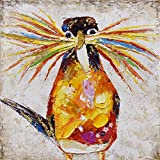 SEVEN WALL ARTS - 100 % Hand Painted Oil Painting Animal Colorful Birds Painting with Stretched Frame Wall Art for Home Decor Ready to Hang (24 x 24, Curious Birds)
