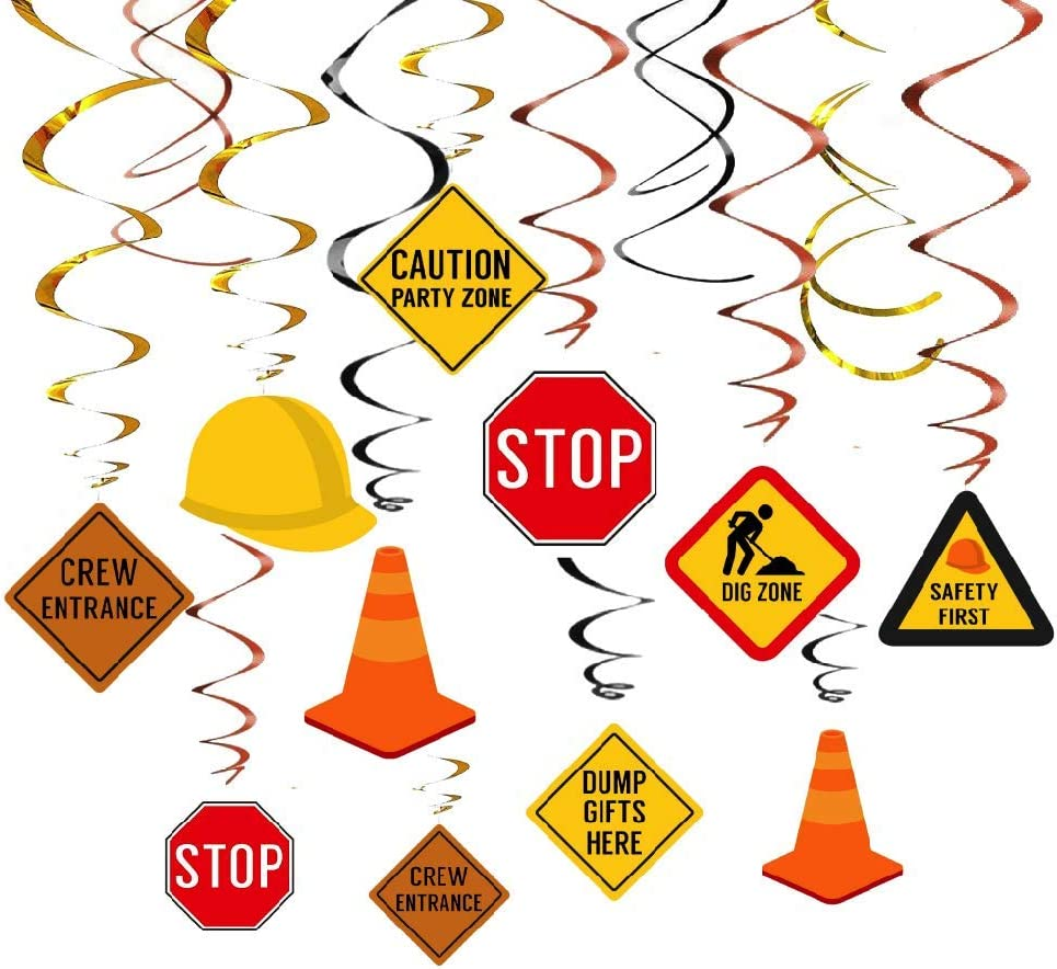 Kristin Paradise 30Ct Construction Hanging Swirl Decorations, Traffic Zone Birthday Theme Streamers, Under Construction Site Party Supplies, Kids/Boy/Toddler First Favors, Stop Sign Road Worker Decor