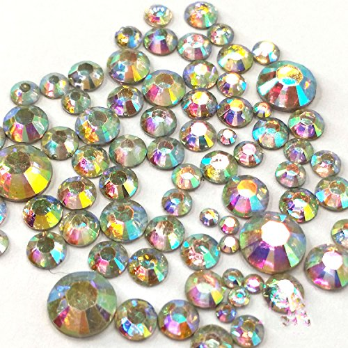(400 pcs 2mm - 6mm Resin Crystal AB round Rhinestones Flatback Mix SIZE ~ M1 - 30)