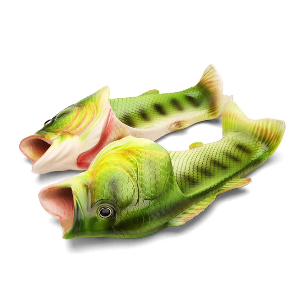 Aolvo Fish Slippers -Summer Beach Women Shoes Men Soft Creative Shower Non-Slip Funny Animal Sandals Casual