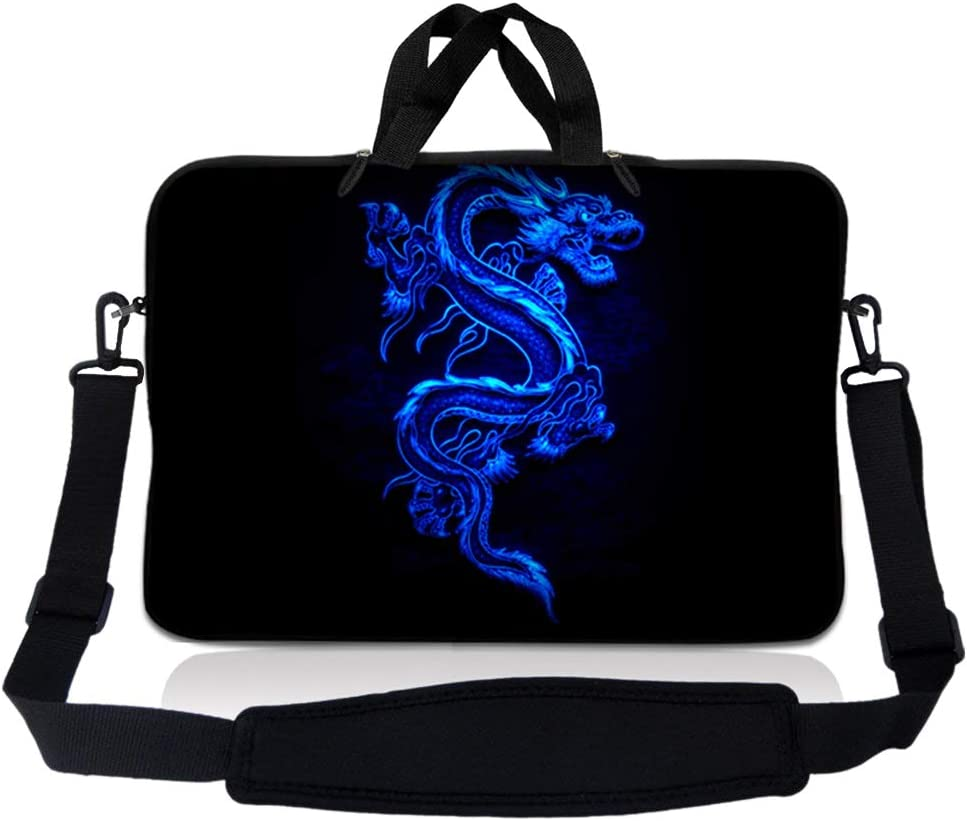 Laptop Skin Shop 8-10.2 inch Neoprene Laptop Sleeve Bag Carrying Case with Handle and Adjustable Shoulder Strap - Blue Dragon