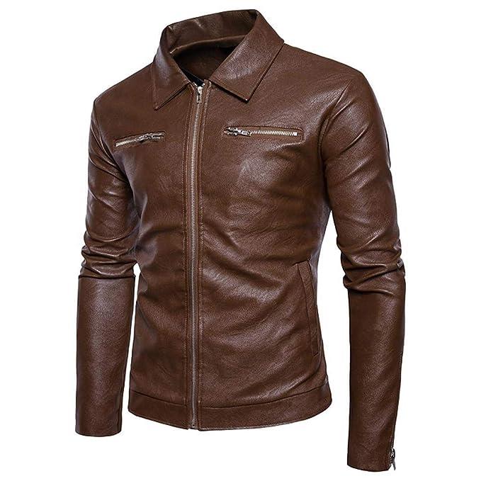 Logobeing Chaqueta de Cuero Hombre Moto Biker Motocicleta con Cremallera Deportiva Outwear Camisas Hombre Abrigos Tops Vaquera Chaquetas Blusa -Y28: ...