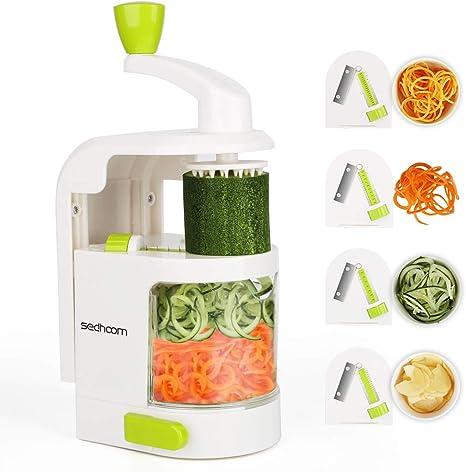 Espiralizador vegetal Sedhoom Cortador de Verduras MultiFunción de Alimentos 4 Cuchillas, Espiralizador de Picar Frutas, Verduras, Zanahorias, Cebollas, para la Salsa, Ensalada: Amazon.es