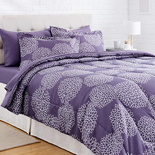 Amazon Basics 7-Piece Light-Weight Microfiber Bed-In-A-Bag Comforter Bedding Set – Full/Queen, Purple Floral