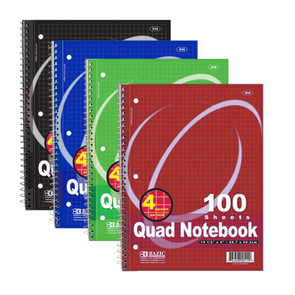 Bazic Quad-Ruled Spiral Notebook, (4 Squares per Inch), 100 Sheets (Case of 24) by BAZIC