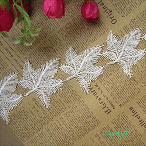 3 Meters Maple Leaf Leaves Lace Edge Trim Ribbon 8 cm Width Vintage Style Off White Edging Trimmings Fabric Embroidered Applique Sewing Craft Wedding Bridal Dress Embellishment DIY Clothes Embroidery