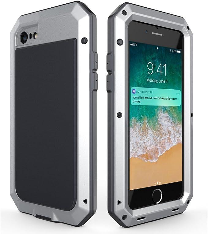 Lanhiem Funda iPhone SE 2020 7/8, [Rugged Armour] Antigolpes Metal Estuche Protectora, Absorción de Choque y Carasa con Protector de Pantalla para 4.7 iPhone 7 8 SE 2020, Plata: Amazon.es: Electrónica