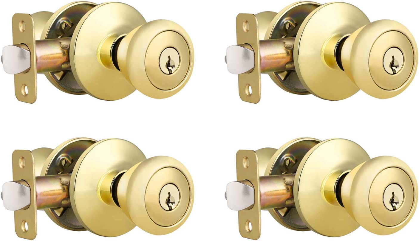 4 Pack Key Entry Door Knob, Keyed Alike Entrance Door Lockset for Front and Office Doors, Tulip Style Door Knob with Lock and Same Keys, Polished Brass