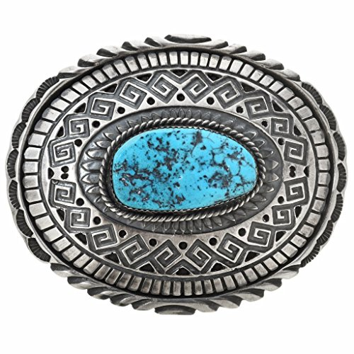 Navajo Kingman Turquoise Silver Buckle Old Pawn Style Sterling 0050 ()