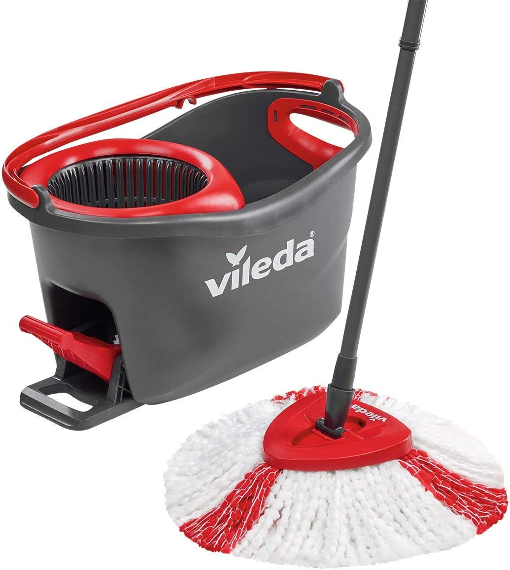 Vileda Easy Wring And Clean Turbo Microfibre Mop And Bucket Set 485 X 275 X 28 Cm Greyred