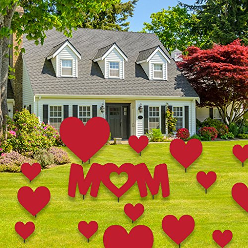 - VictoryStore Mother's Day Yard Decoration - Mom & Hearts - Red Corrugated Plastic w/19 Short Stakes