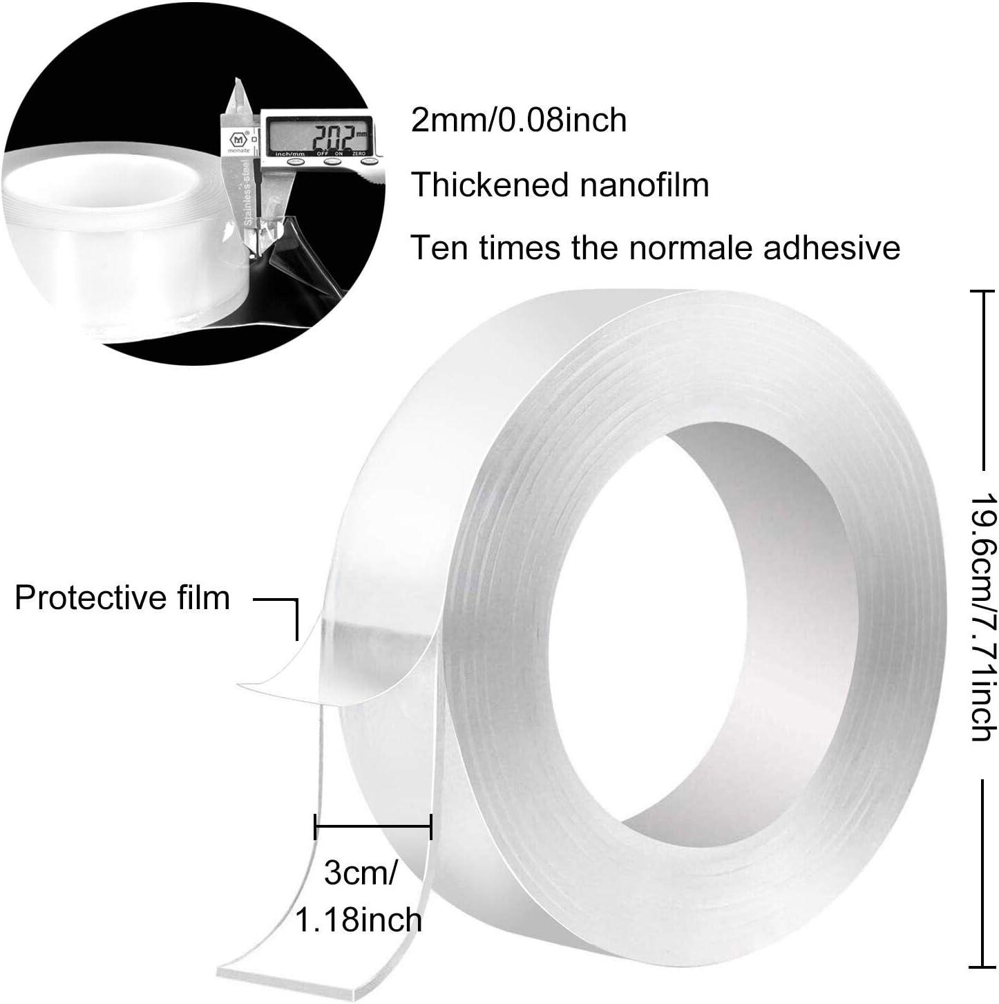3M Nano Doppelseitiges Klebeband Transparent Entfernbares Wiederverwendbares Klebestreifen rutschfest Multifunktionales f/ür Teppich Fotorahmen K/üche GXR Waschbares Spurloses Klebeband