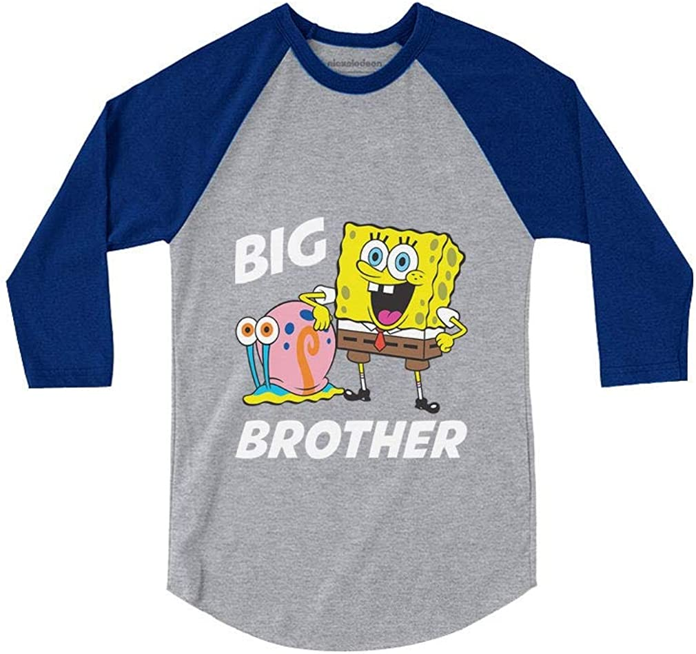 Spongebob and Gary Big Brother Funny 3//4 Sleeve Baseball Jersey Toddler Shirt