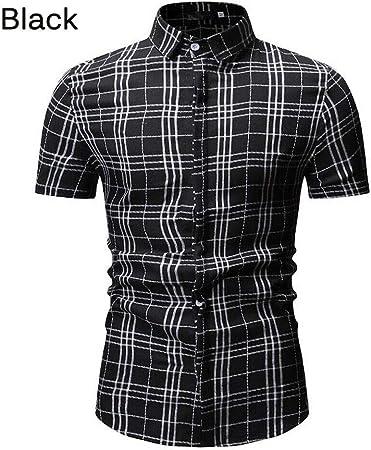 LIUXING-TUMI Moda de Verano for Hombre Camisa de Vestir Casual for Hombre a Cuadros Camisas de Manga Corta Tops tee Size M-3XL (Color : Negro, tamaño : Metro): Amazon.es: Hogar