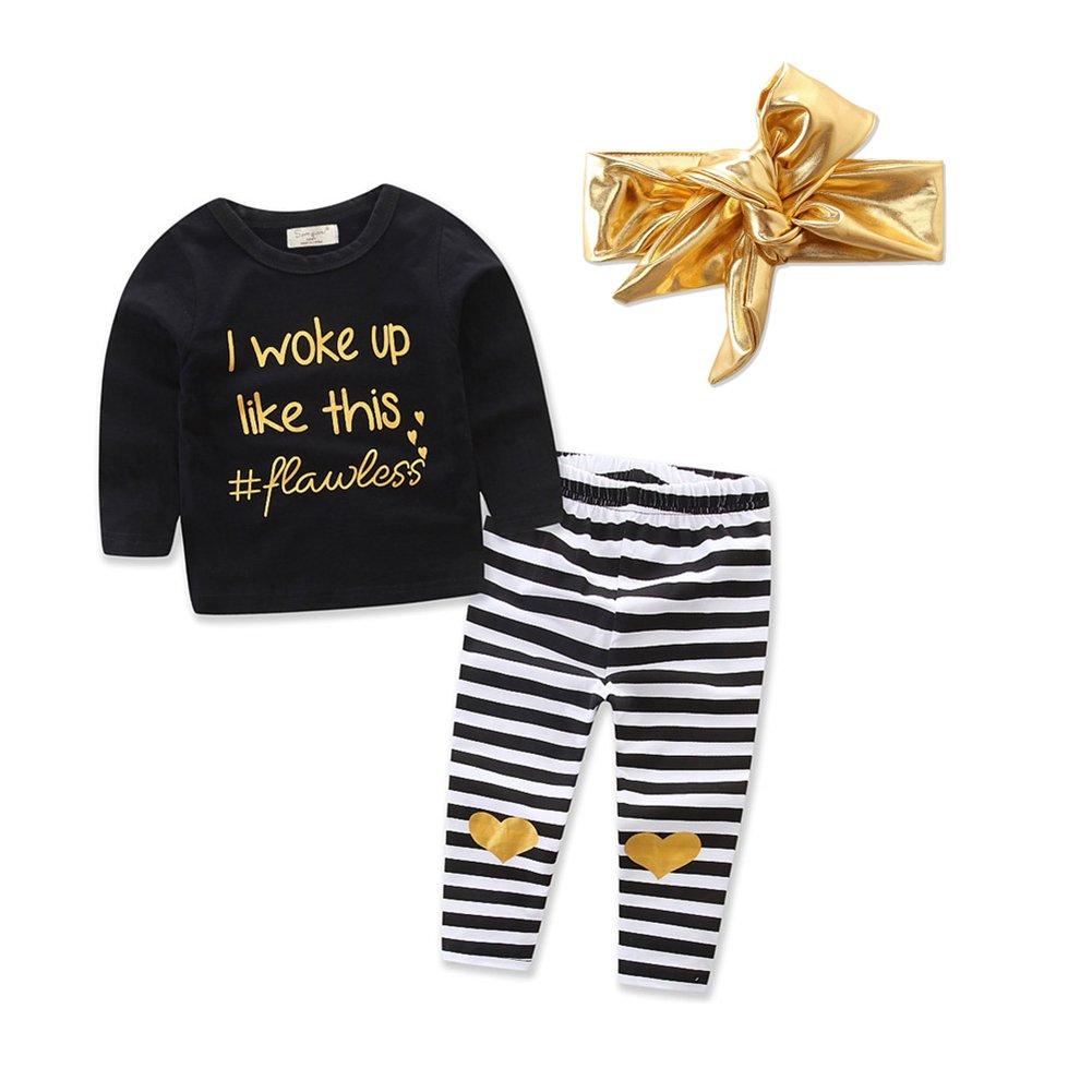Zekky Baby Toddler Girl Long Sleeve Balck Top+Stripe Pants+Gold Headband 3Pcs Set