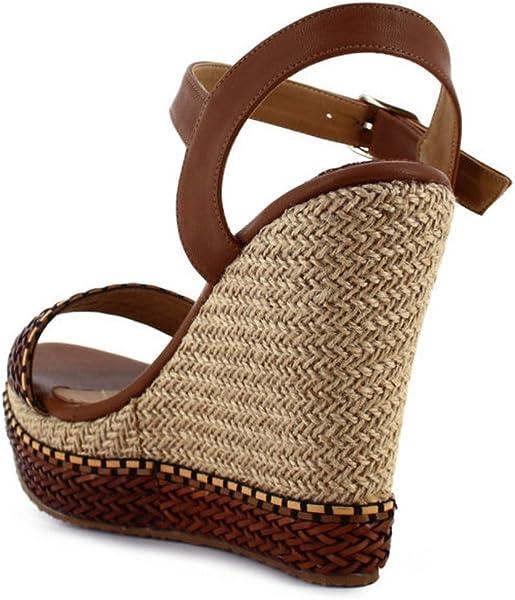 24951d65213d Amazon.com  Ceresnia Adult Brown Ankle Strap Platform Wedge Trendy ...
