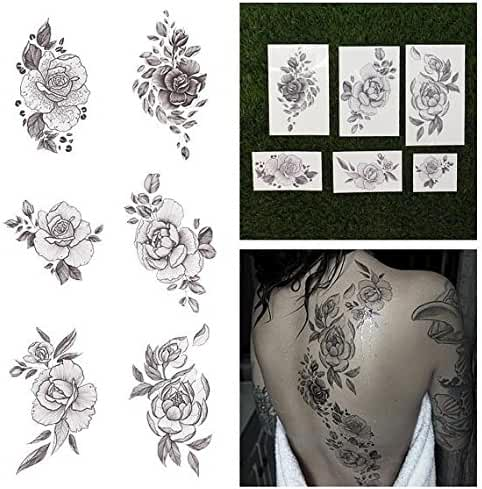 Tattify Floral Temporary Tattoos - A Rose by Any Other Name (Complete Set of 12 Tattoos - 2 of each Style) - Individual Styles Available and Fashionable Temporary Tattoos