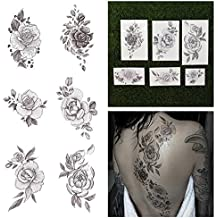 Tattify Floral Temporary Tattoos - A Rose by Any Other Name (Complete Set of 12 Tattoos - 2 of each Style) - Individual Styles Available - Premium and Fashionable Temporary Tattoos