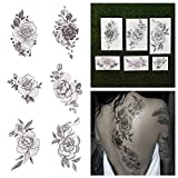 pics if t - Tattify Floral Temporary Tattoos - A Rose by Any Other Name (Complete Set of 12 Tattoos - 2 of each Style) - Individual Styles Available - Premium and Fashionable Temporary Tattoos