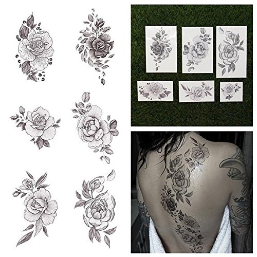 Tattify Floral Temporary Tattoos - A Rose by Any Other Name (Complete Set of 12 Tattoos - 2 of each Style) - Individual Styles Available - Premium and Fashionable Temporary (Temporary Rose Tattoos)