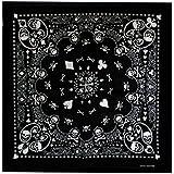 "Bandana Soul - Bandanas 100% Cotton - Cowboy Paisley American Print - Double Sided Head Wrap Scarf Wristband - 21.5 x 21.5"""