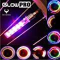 GlowPRO 5 Color Bike Tire LED Valve Stem Caps Light - Neon Colors are the Best Night Safety Reflective Gear. Illumination Gives High Visibility for Motorcycles, Cyclists & Child Safety! - 2 Wheel Pack