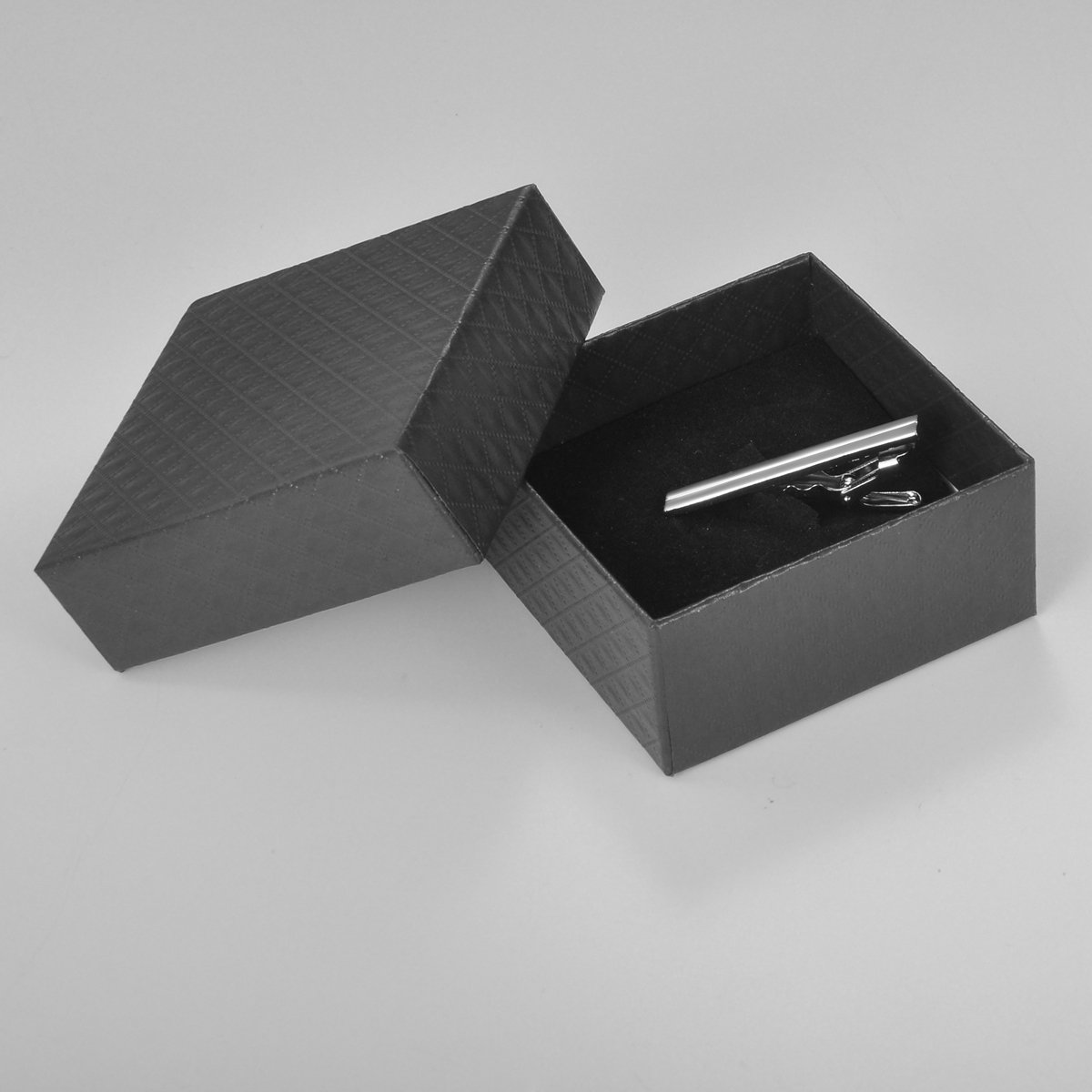 HOUSWEETY Mens Tie Bar Pinch Clip Stripe Simply Style Length:46mm(1 6/8'') by Housweety (Image #3)