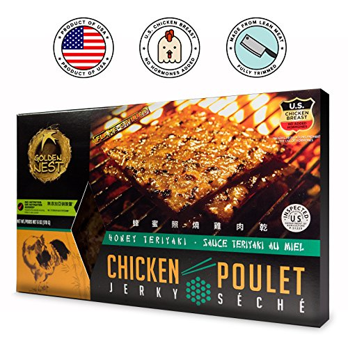 Golden Nest Chicken Jerky, Gluten Free, Healthy Homemade Style BBQ Meat From Gourmet USA Chicken, Award Winning Premium Jerky, 6 Ounces (Honey Teriyaki)