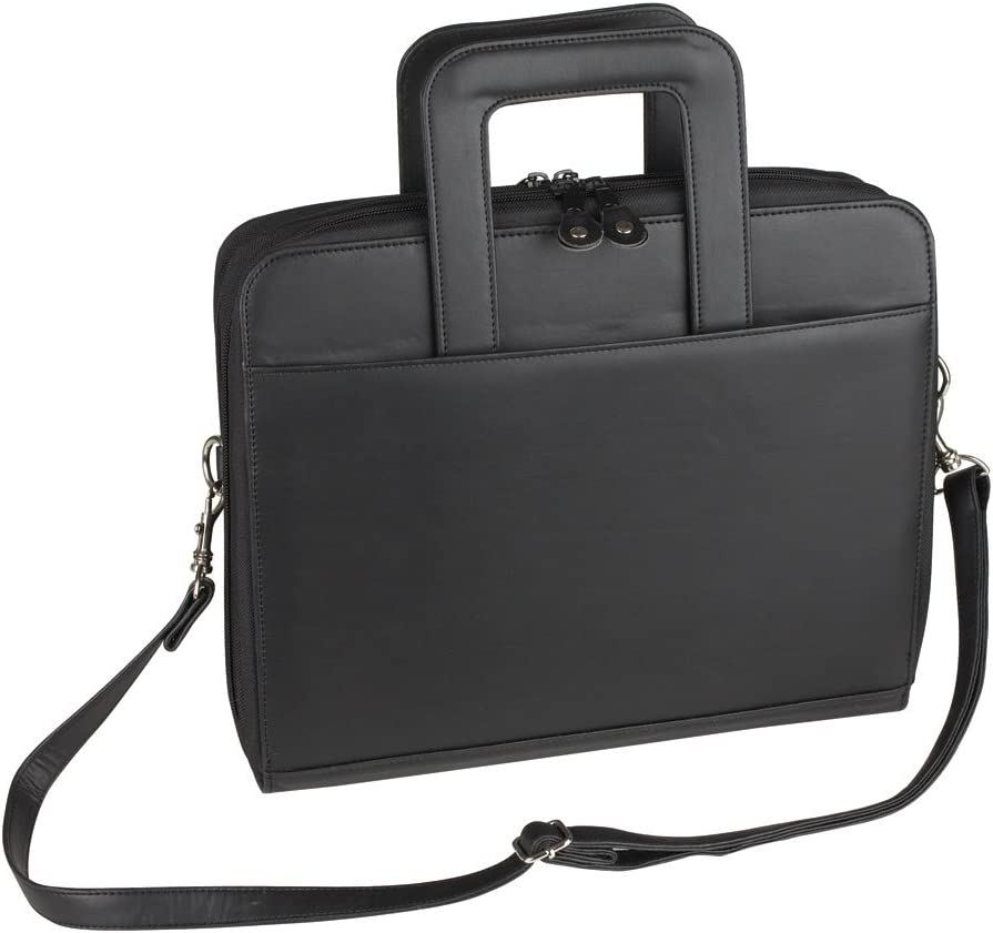 NuFazes Portfolio 3 Ring Binder Organizer- Padfolio Briefcase with Retractable Handle and Zippered File Divider
