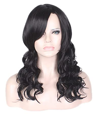 AneShe Black Wave Hair Wig for Black Women Long Curly Fluffy Healthy Full  Wigs Synthetic Hair 0275bceaba