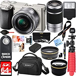 Sony Alpha a6000 24MP Mirrorless Camera 16-50mm & 55-210mm Zoom Lens (Silver) + 64GB Accessory Bundle + DSLR Photo Bag + Extra Battery+Wide Angle Lens+2x Telephoto Lens+Flash+Remote+Tripod