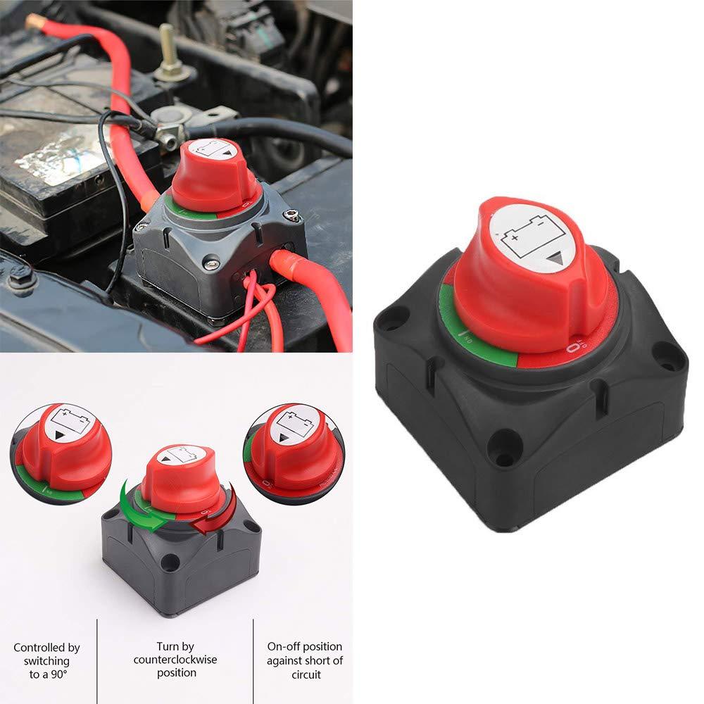 ONEVER Aislador de la bater/ía Corte de energ/ía Interruptor de apagado por energ/ía Interruptor a prueba de agua Cubierta universal 12V 24V para barcos de autom/óviles marinos