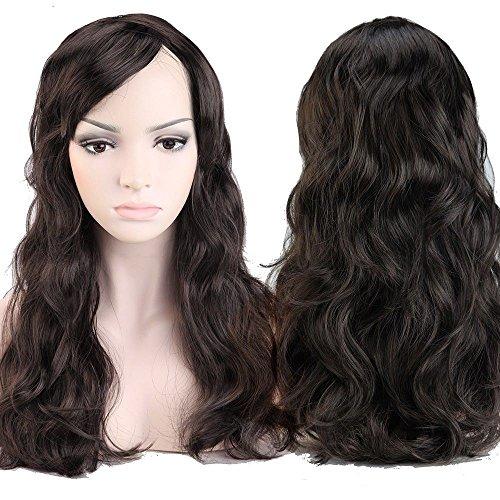 Women's Hair Cosplay Party Wigs Dark Brown Long Curly Bangs Full Wig - 7