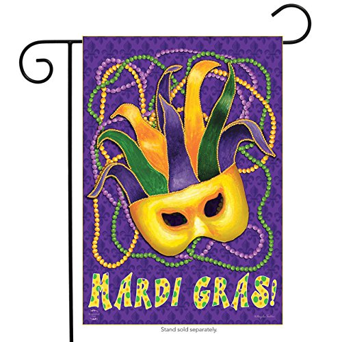 Briarwood Lane Mardi Gras Garden Flag Mask Beads Holiday 12.5