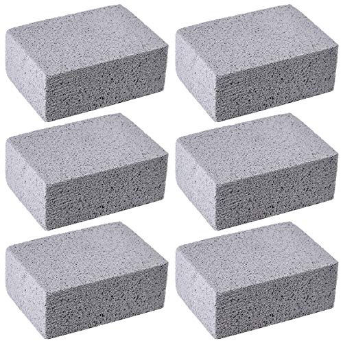 (Elcoho 6 Pack Grill Griddle Cleaning Brick Block Grill Cleaning Pumice Stones for Cleaning and Removing BBQ Grills, Racks, Flat Top Cookers (6))