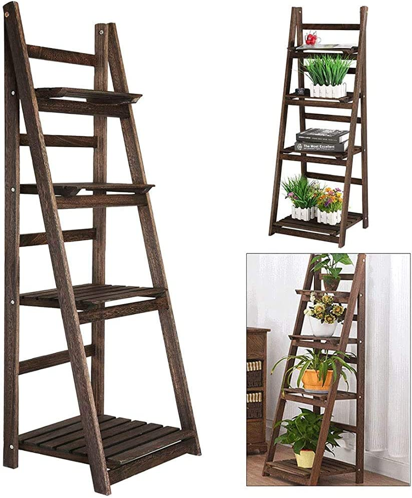 Estantería estantería flor de pared decorativo de estilo planta de puertas de madera escaleras escalera cuarto piso de la oficina sala de estar almacenado plegable de color marrón antiguo,Brown: Amazon.es: Hogar