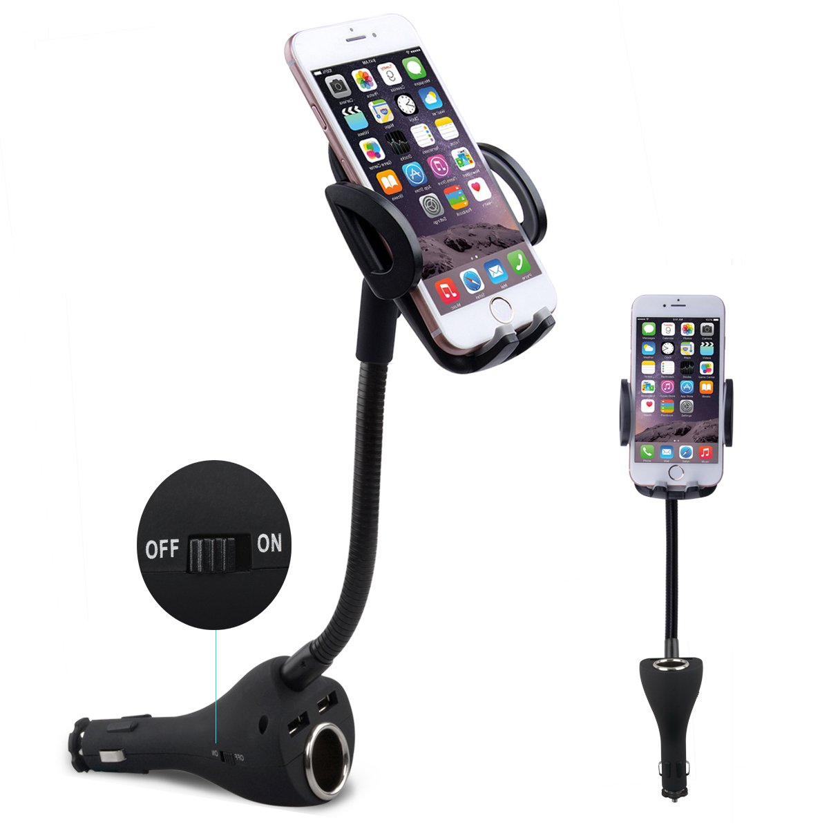 Te-Rich 3-in-1 Universal Car Mount Holder Phone Charger Cigarette Lighter Power Adapter for iPhone, Samsung Galaxy and More Smartphones (1 Power Outlet, Dual USB, 4.8A Max)