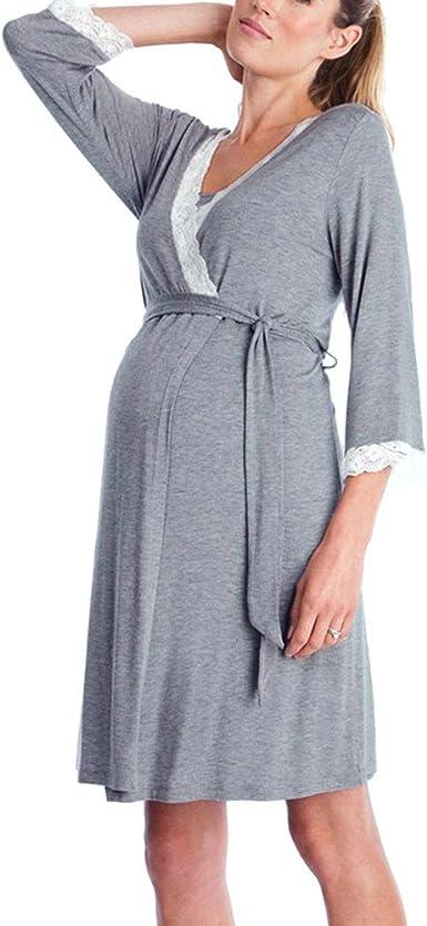 STRIR Vestido de Lactancia Maternidad de Noche Manga 3/4 Camisón Mujeres Embarazadas Ropa de Dormir Premamá Pijama Verano Encaje