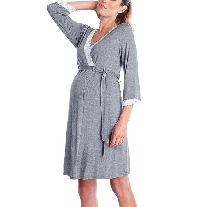 STRIR Vestido de Lactancia Maternidad de Noche Manga 3/4 Camisón Mujeres Embarazadas Ropa de
