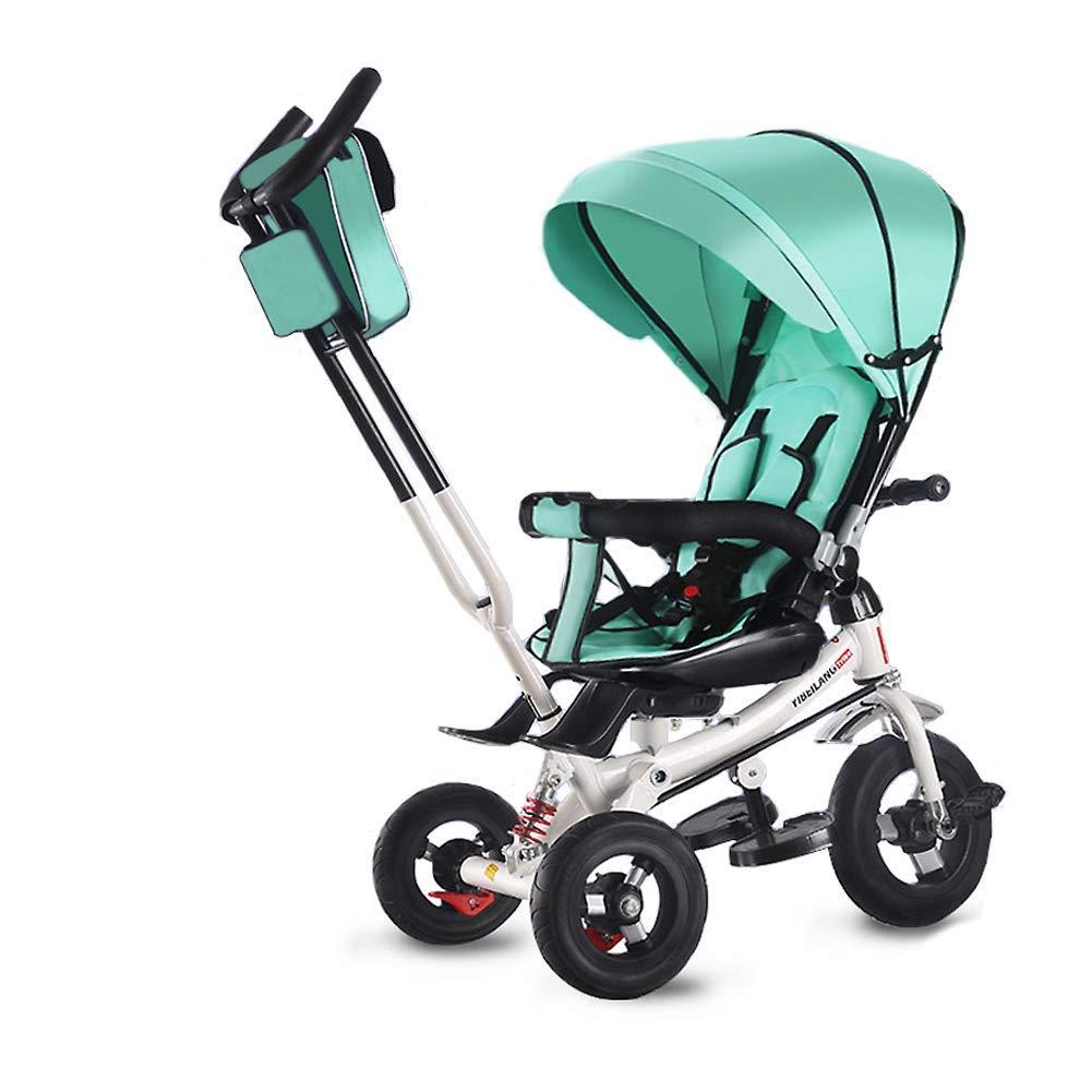 Blu Spugna Rimovibile DGB Triciclo per Bambini Custodia tettuccio Regolabile Passeggino Pieghevole 4 in 1 con Cintura a 5 Punti