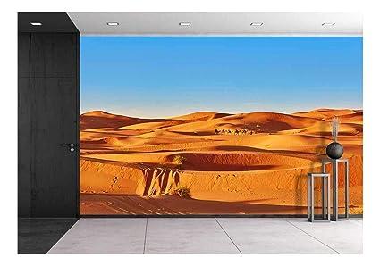 wall26 Camel Caravan Going Through The Sand Dunes in The Sahara Desert,  Merzouga, Morocco - Removable Wall Mural | Self-Adhesive Large Wallpaper -