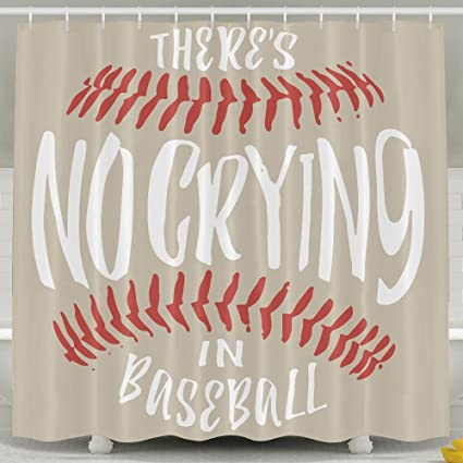 Amazon ThereS No Crying In Baseball Shower Curtain With Hooks