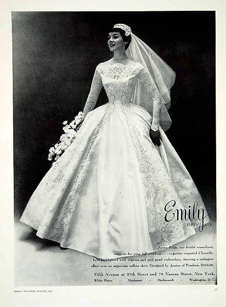 Amazon.com: 1956 Ad Vintage Taffeta Wedding Dress Jessica Pandora ...