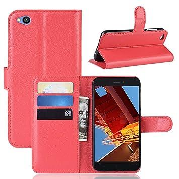 MISKQ Funda para Xiaomi Redmi Go,Funda con diseño de Cartera,Estuche para el teléfono Anti caída,Estuche de Silicona(Roja)