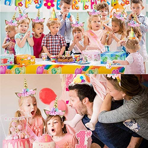 ユニコーン誕生日セット ゴールドグリッターユニコーンヘッドバンド ピンクサテンサッシュ ハッピーバースデーユニコーンパーティー用品 記念品デコレーション