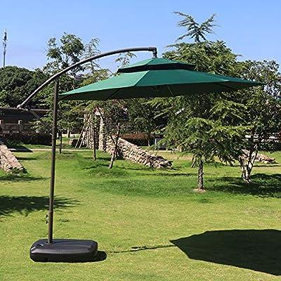 Hcyai Excéntrica Parasol Garden sombrilla de Brazo Colgante de jardín Sombrilla con manivela y de inclinación, Elegir, con una Base del Tanque de Agua, 2,5 * 2,7 m,03: Amazon.es: Deportes y aire libre