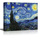 "wall26® - Starry Night by Vincent Van Gogh - Canvas Wall Art Modern Home Decor Bedroom and Living Room Decorations Oil Painting Reproduction | Stretched and Wrapped Giclee Prints Ready to Hang - 16"" x 20"""