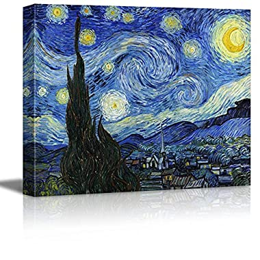 Wall26 Starry Night by Vincent Van Gogh - Canvas Wall Art Modern Home Decor Bedroom and Living Room Decorations Oil Painting Reproduction | Stretched and Wrapped Giclee Prints Ready to Hang - 16  x 20