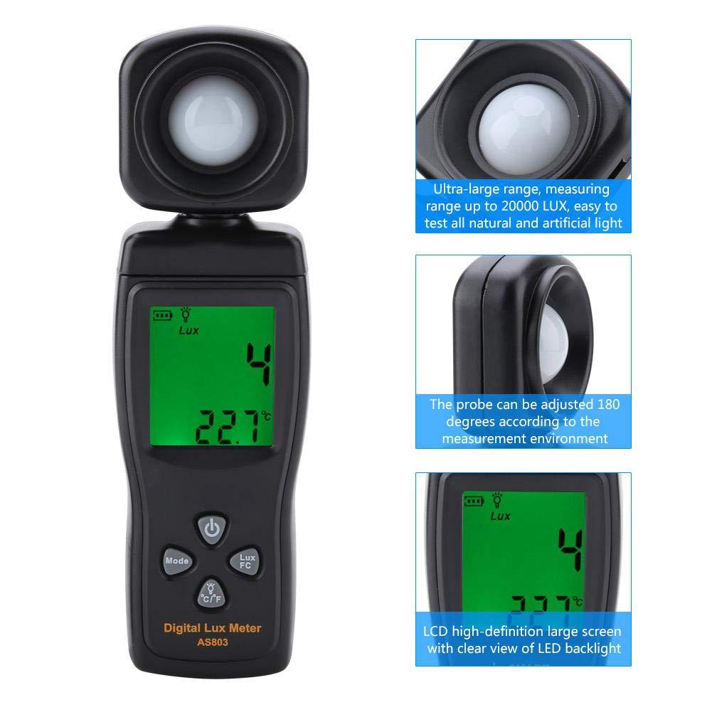 Lux/ómetro digital para medir la luminosidad medidor de temperatura ambiente sensor inteligente AS803 Mini LCD pantalla digital Luxmeter metro de luz-10~50 /°C Walfront