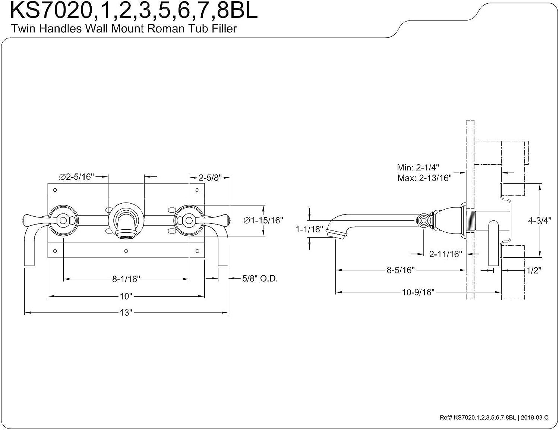 Kingston Brass KS7021BL English Country 8-Inch Center Wall Mount Roman Tub Filler 10-7//16 Spout Reach Polished Chrome